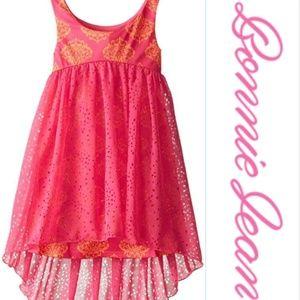 Bonnie Jean Fuchsia Laser Cut Hi Low Spring Dress